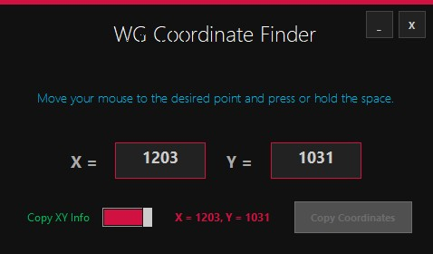 WG Coordinate Finder(鼠标光标坐标位置查找工具)